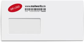 mailworXs Kuvert mit Barcode und Firmenlogo in Farbe