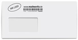 mailworXs Kuvert mit Barcode und Firmenlogo in sw